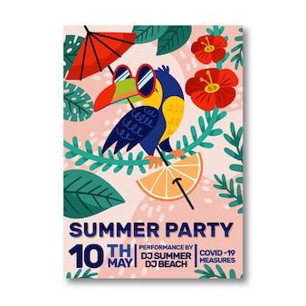 Modelo de pôster vertical de festa de verão dos desenhos animados