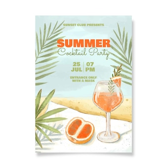 Modelo de pôster vertical de festa de verão em aquarela pintada à mão
