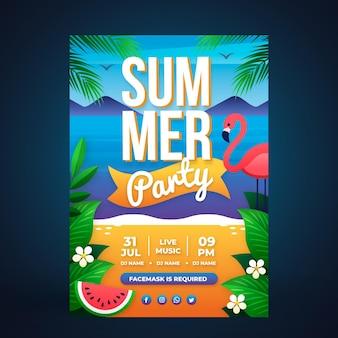 Modelo de pôster vertical de festa de verão gradiente