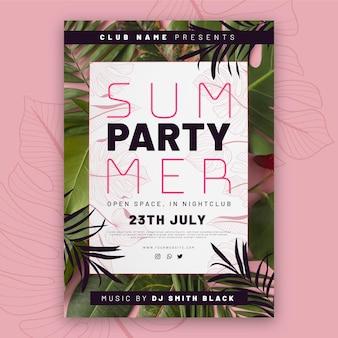 Modelo de pôster vertical de festa de verão plana com foto