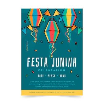 Modelo de pôster vertical de festa junina desenhada à mão