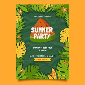 Modelo de pôster vertical de festa plana orgânica de verão