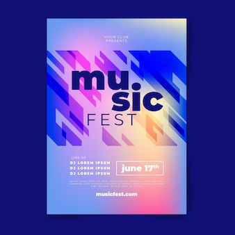 Modelo de pôster vertical de festival de música plana