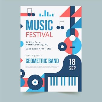 Modelo de pôster vertical de formas geométricas abstratas para festival de música