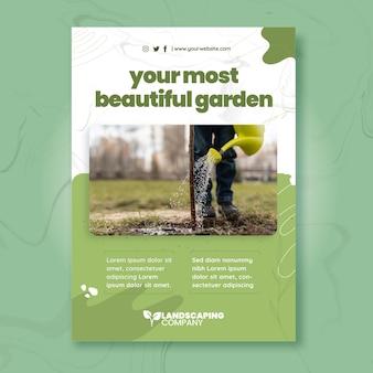 Modelo de pôster vertical de negócios de jardinagem