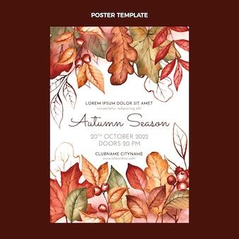 Modelo de pôster vertical de outono em aquarela