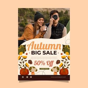 Modelo de pôster vertical de venda de outono com foto