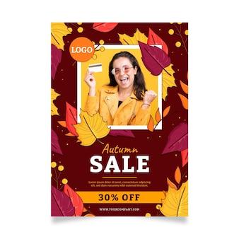 Modelo de pôster vertical de venda de outono desenhado à mão com foto