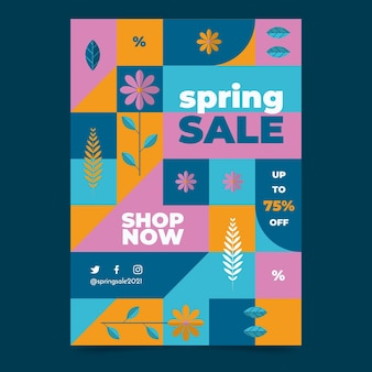 Modelo de pôster vertical de venda de primavera
