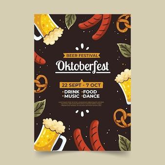 Modelo de pôster vertical desenhado à mão da oktoberfest