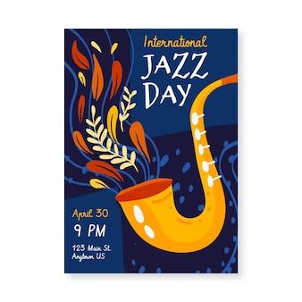 Modelo de pôster vertical desenhado à mão para o dia internacional do jazz