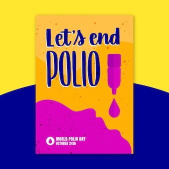 Modelo de pôster vertical desenhado à mão para o dia mundial da pólio