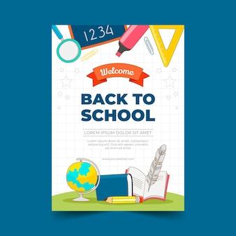 Modelo de pôster vertical desenhado de volta para a escola