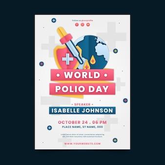 Modelo de pôster vertical do dia mundial da pólio em estilo papel