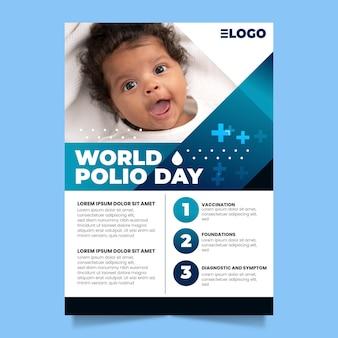 Modelo de pôster vertical do dia mundial da pólio gradiente