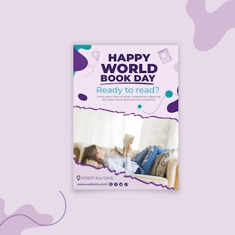 Modelo de pôster vertical do dia mundial do livro