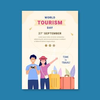 Modelo de pôster vertical do dia mundial do turismo