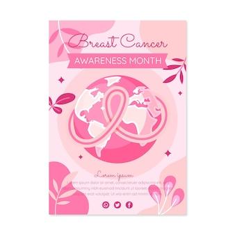 Modelo de pôster vertical do mês de conscientização sobre o câncer de mama desenhado à mão