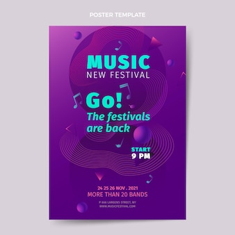 Modelo de pôster vertical gradiente colorido festival de música