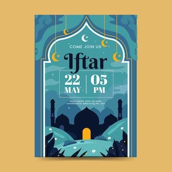 Modelo de pôster vertical iftar plano