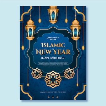 Modelo de pôster vertical islâmico realista de ano novo