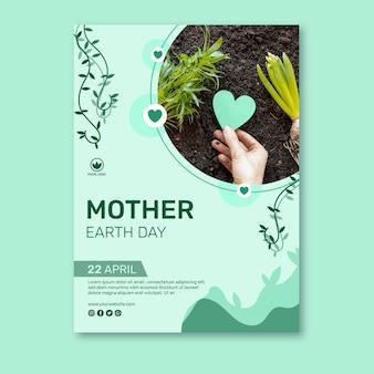 Modelo de pôster vertical para celebração do dia da mãe terra