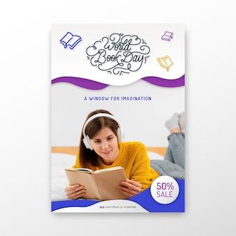 Modelo de pôster vertical para celebração do dia mundial do livro