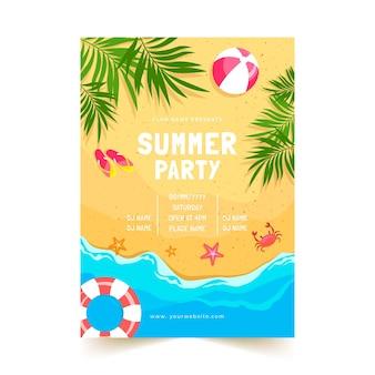 Modelo de pôster vertical para festa de verão plana