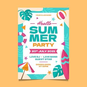 Modelo de pôster vertical para festa de verão