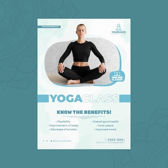 Modelo de pôster vertical para prática de ioga