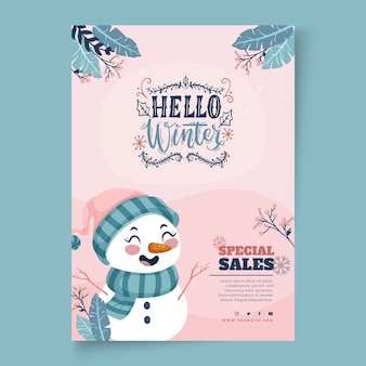 Modelo de pôster vertical para venda de inverno com boneco de neve Vetor grátis
