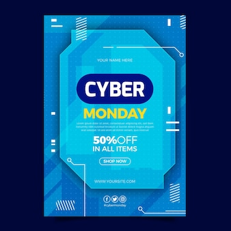 Modelo de pôster vertical plano cibernético de segunda-feira