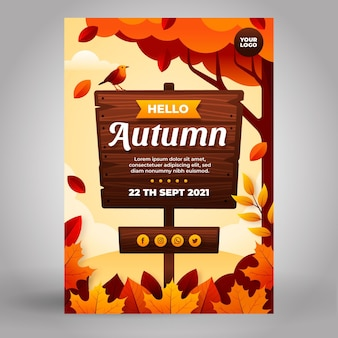 Modelo de pôster vertical plano de outono