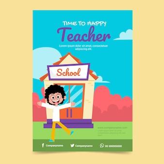 Modelo de pôster vertical plano desenhado à mão para o dia dos professores