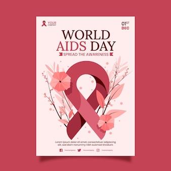 Modelo de pôster vertical plano desenhado à mão para o dia mundial da aids