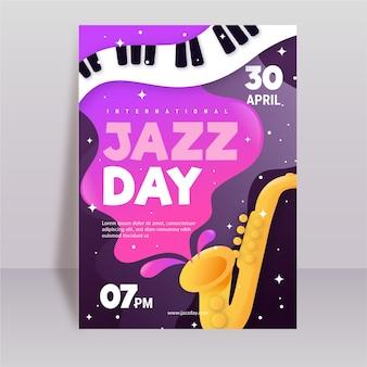 Modelo de pôster vertical plano internacional para o dia do jazz