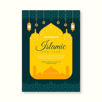 Modelo de pôster vertical plano islâmico de ano novo