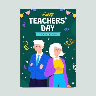 Modelo de pôster vertical plano para o dia dos professores