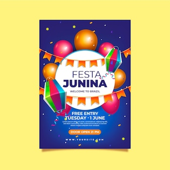 Modelo de pôster vertical realista de festa junina