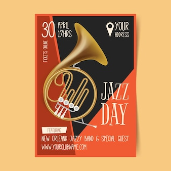 Modelo de pôster vertical realista para o dia internacional do jazz