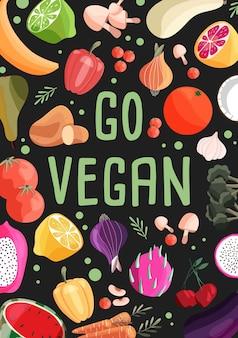 Modelo de pôster vertical vegano com coleção de frutas e vegetais orgânicos frescos