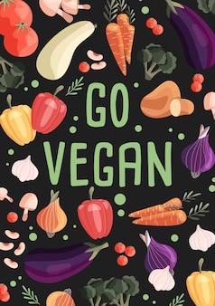 Modelo de pôster vertical vegano com coleção de vegetais orgânicos frescos
