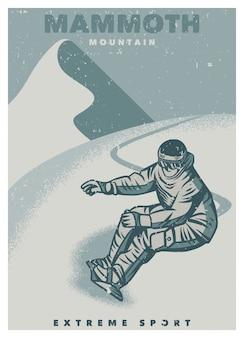 Modelo de poster vintage - esporte radical de snowboarder na montanha gigantesca
