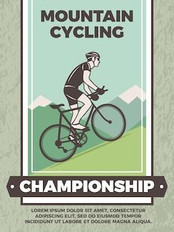 Modelo de poster vintage para clube de bicicletas. cartaz de esporte de mountain bike, campeonato de bicicleta