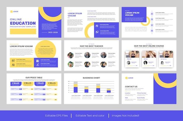 Modelo de powerpoint de apresentação educacional e design de apresentação educacional
