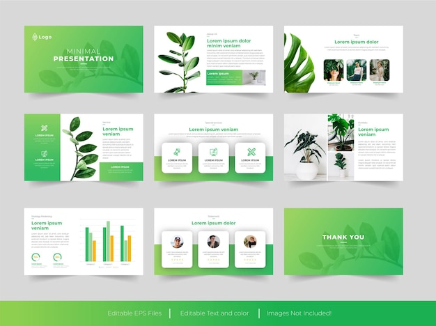 Modelo de powerpoint de verde mínimo