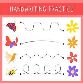 Modelo de prática de caligrafia