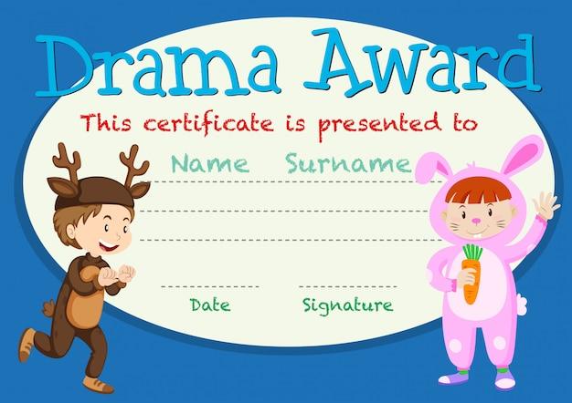 Modelo de prêmio de estudante de drama