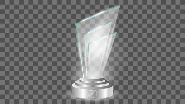 Modelo de prêmio de vidro, isolado em transparente