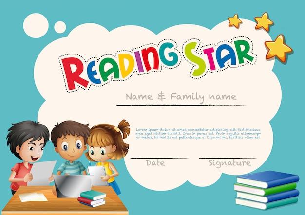 Modelo de prêmio estrela de leitura com fundo de crianças